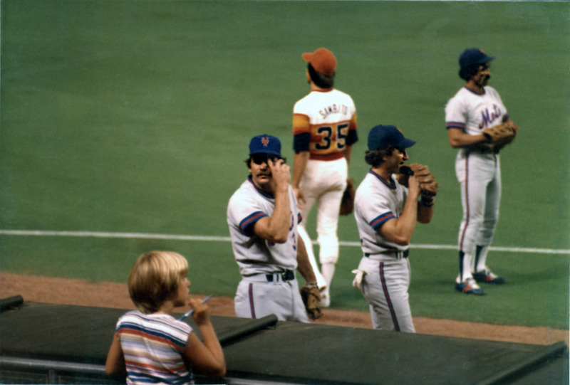 Photograph, Houston Astros Player and Three New York Mets Players at the Astrodome