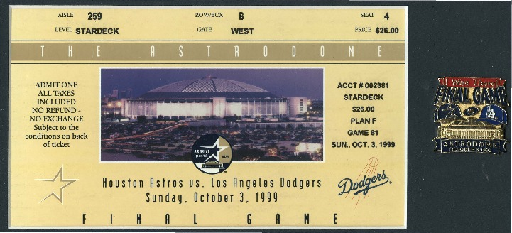 Ticket, 1999 Houston Astros Game