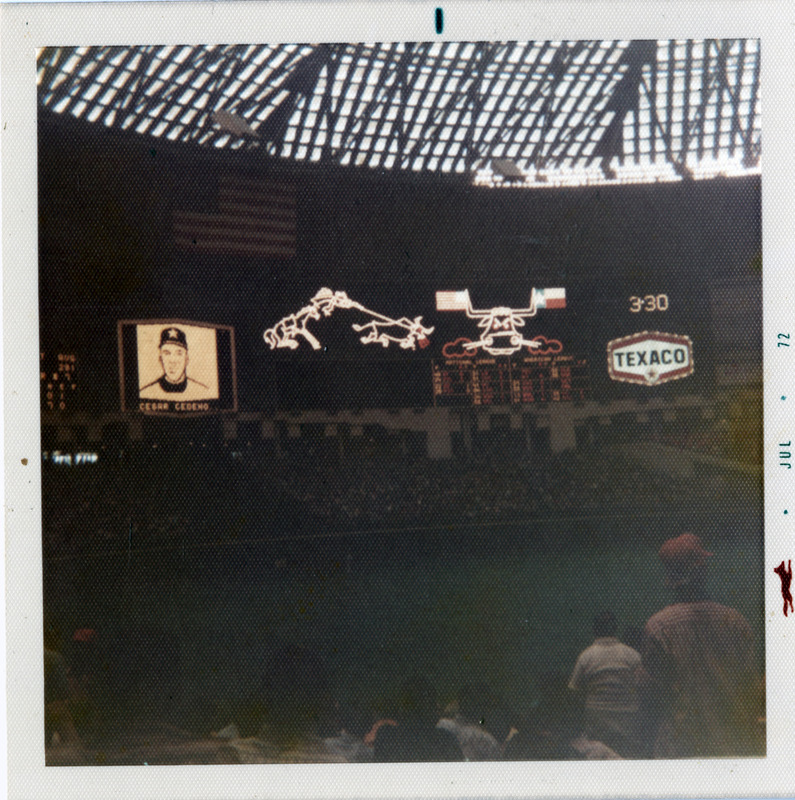 Photograph, Astrodome Scoreboard with Texaco Logo