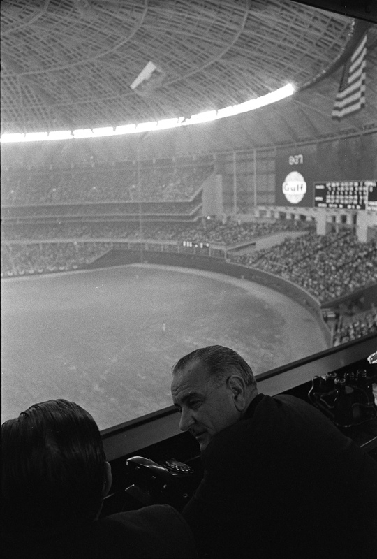 Photograph, Lyndon B. Johnson and Judge Roy M. Hofheinz at Astrodome Opening Game