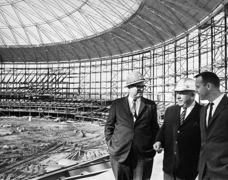 Photograph, Roy Hofheinz, Warren Giles, and Alan Shepard inside the Astrodome