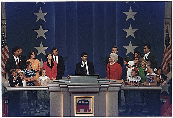 Photo of George P. Bush speaking at 1992 Republican National Convention