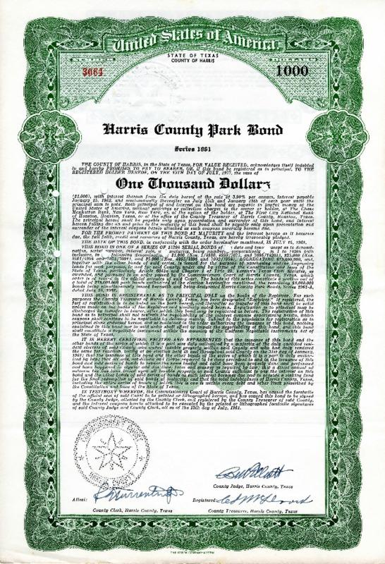 Harris County Park Bond, Series 1961