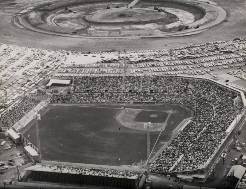 Photograph, Colt Stadium with Astrodome Site in the Background