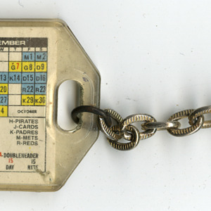 Keychain with the Houston Astros 1972 Schedule