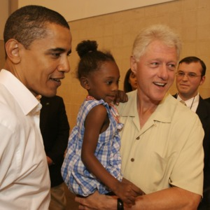 Photograph, Former President Bill Clinton and Senator Barack Obama Visiting Katrina Evacuees at Reliant Arena
