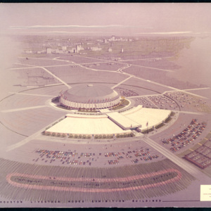 Color Rendering, Astrodome and Houston Livestock Rodeo Exhibition Building Complex