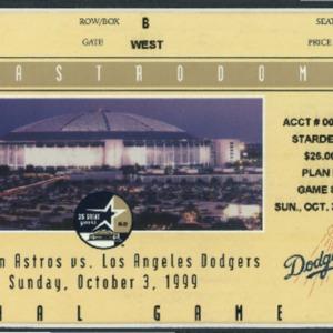Ticket, 1999 Houston Astros Game