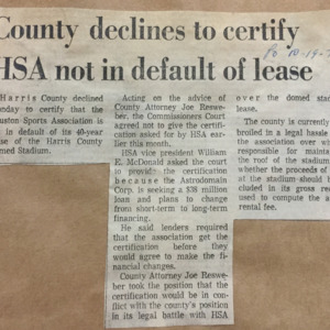 County declines to certify HSA not in default of lease