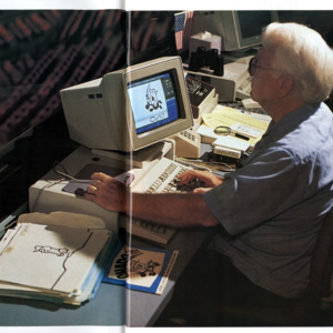 Photograph, Ed Henderson Working on the Astrodome Scoreboard Animation