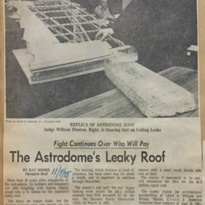 """""""The Astrodome's Leaky Roof,"""" Houston Chronicle"""