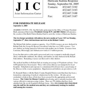 Hurricane Katrina Response: Bush-Clinton News Release