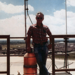 Gordon Ray Ertzinger on top of the Astrodome