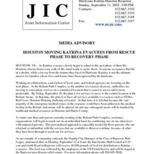 """Hurricane Katrina Houston Response News Release: """"Houston Moving Katrina Evacuees from Rescue Phase to Recovery Phase"""""""