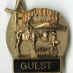 Houston Rodeo Youth Education guest pin, 1987