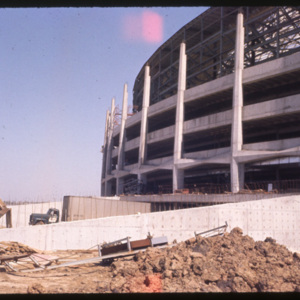 Photograph, Astrodome Construction, Exterior View of Side with Loading Dock