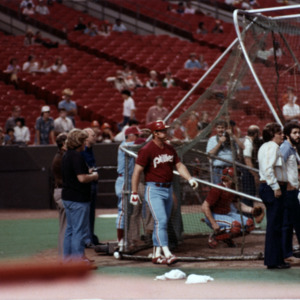 Photograph, Philadelphia Phillies Players in Pre-Game Batting Practice at the Astrodome
