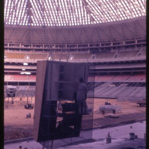 Photograph, Astrodome Construction, Interior View with Workman