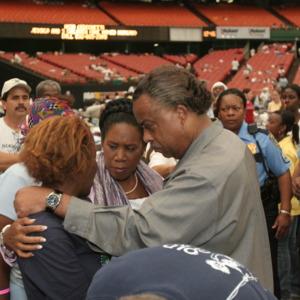 Photograph, Rep. Sheila Jackson Lee and Rev. Al Sharpton at the Reliant Astrodome