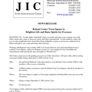 "Hurricane Katrina Houston Response News Release: ""Reliant Center Town Square to Brighten Life and Raise Spirits for Evacuees"""