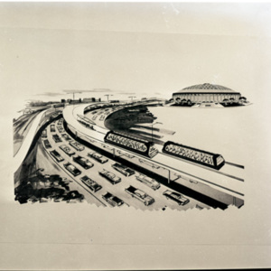 Print of Street Cars running to the Astrodome<br /><br />