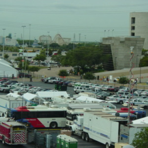 Photograph, Reliant City Unified Incident Command, with AstroWorld in Background.