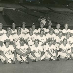 Photograph, Rice University Baseball team in Astrodome