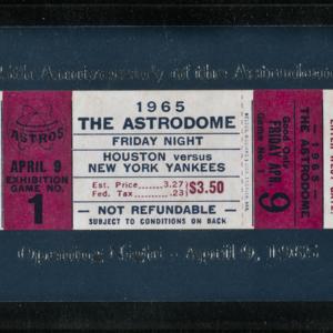 Opening Night ticket April 9, 1965, framed<br /><br />