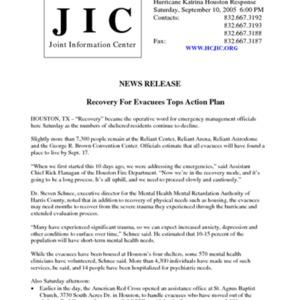 "Hurricane Katrina Houston Response News Release: ""Recovery For Evacuees Tops Action Plan"""