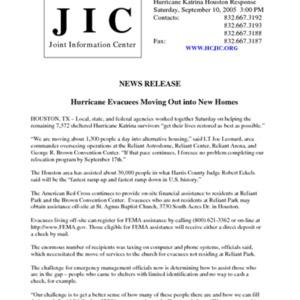 "Hurricane Katrina Houston Response News Release: ""Hurricane Evacuees Moving Out into New Homes"""