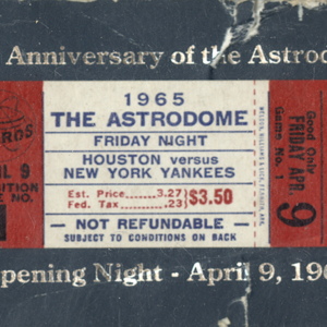 Opening Day Ticket, Astrodome 25th Anniversary <br />