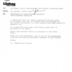 Letter to Jim Adams re: Preservation of Architectural Artifacts from Astrodome Renovation