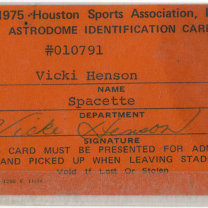 Astrodome Identification Card for Vicki Henson