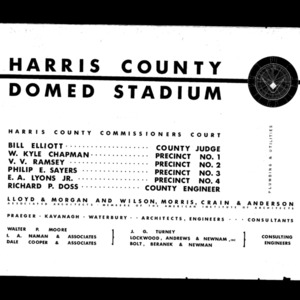 Domed Roof Drawings, Harris County Sports Stadium