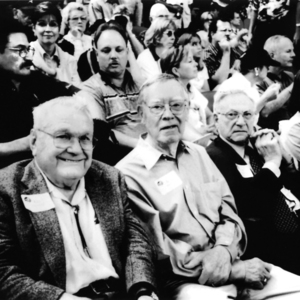 Photograph, Ken Zimmerman, S. I. Morris, and Israel Naman at One of the Last Astros Games in the Astrodome