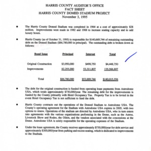 """""""Harris County Auditor's Office, Fact Sheet, Harris County Domed Stadium Project, November 3, 1995"""""""