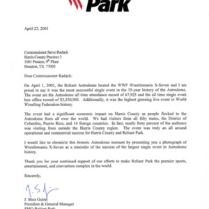 Letter to Commissioner Steve Radack