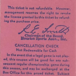 Ticket Stub, Opening Day