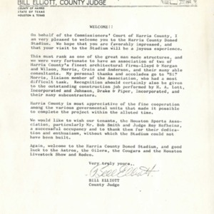 Welcome Letter to visitors to the Astrodome
