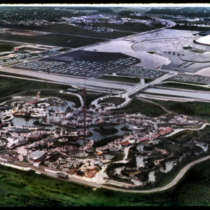 Photograph, Aerial Shot of Astroworld and Astrodome