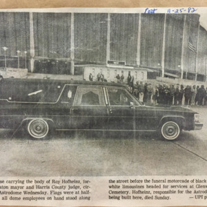 Photo of hearse carrying the body of Roy Hofheinz in front of the Astrodome