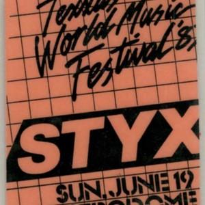 Ticket, Styx Concert