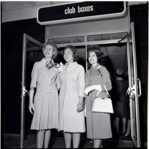 Mrs John Connally and 2 ladies entering  the Astrodome Club Boxes<br /><br />