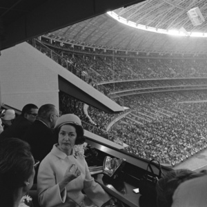 Photograph, Lady Bird Johnson at Astrodome Opening Game