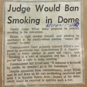 """""""Judge Would Ban Smoking in Dome,"""" Houston Chronicle"""