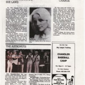 """Magazine page: """"The Singing Voice of the Astros, Sue Laws""""; """"The Astronuts""""; """"Chester Charge"""""""