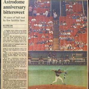"""Astrodome Anniversary Bittersweet,"" Houston Chronicle"