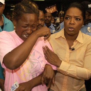 Photograph, Oprah Winfrey Visiting Hurricane Katrina Evacuees at Reliant Astrodome.