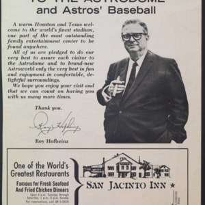 """""""Welcome to the Astrodome and Astros' Baseball"""""""
