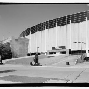 Photograph, Astrodome, Perspective Of East Elevation And Large Chiller, Looking Southwest